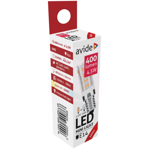 Avide LED 4.5W JD E14 220° WW 3000K